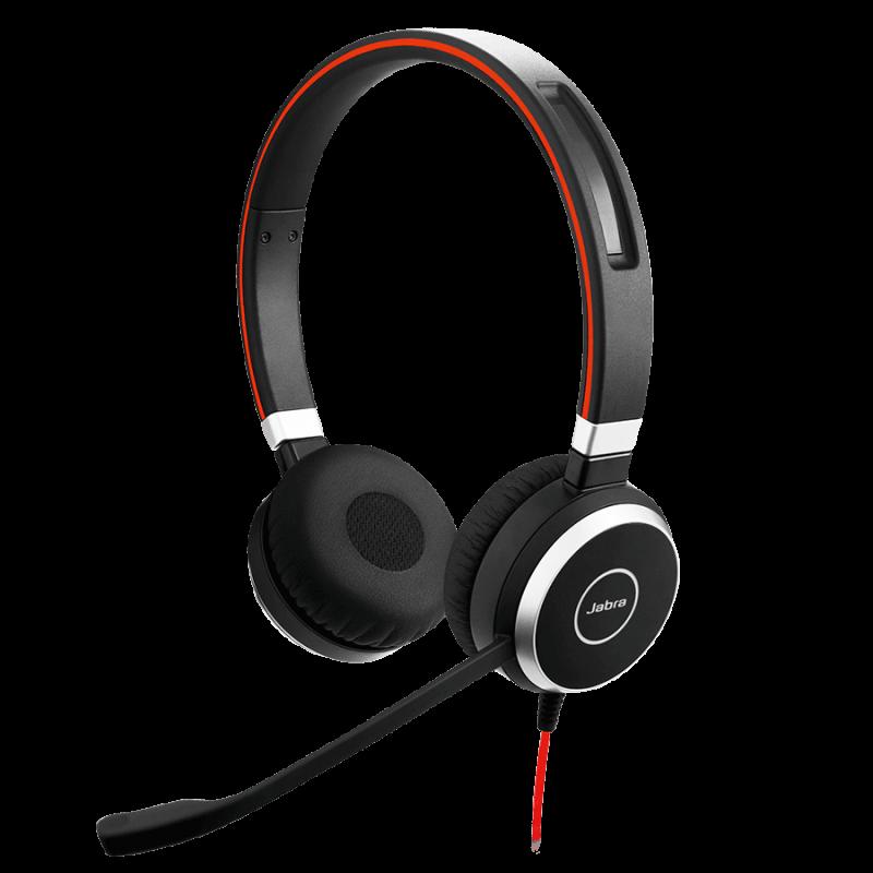 Casti Jabra Evolve 40 UC Stereo, Negru/Rosu, Microfon + Adaptoare USB Control Apel/Volum