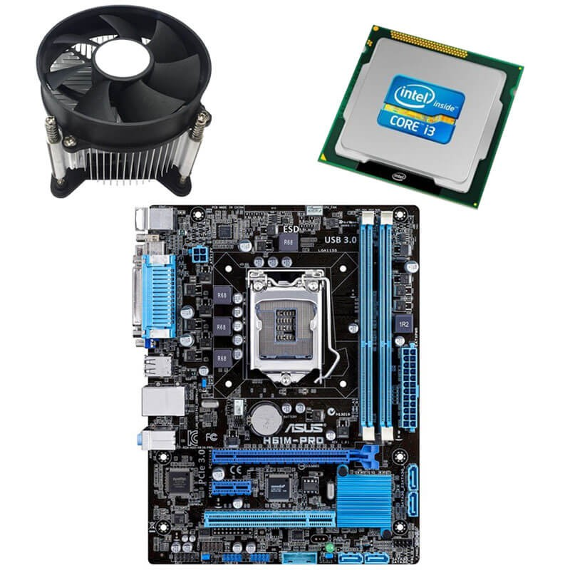 Kit Placi de baza Refurbished ASUS H61M-PRO, Intel Core i3-2100, Cooler