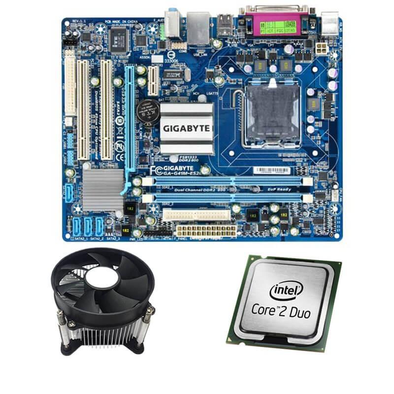 Kit Placi de baza Refurbished GIGABYTE G41M-ES2L, Core 2 Duo E6550, Cooler