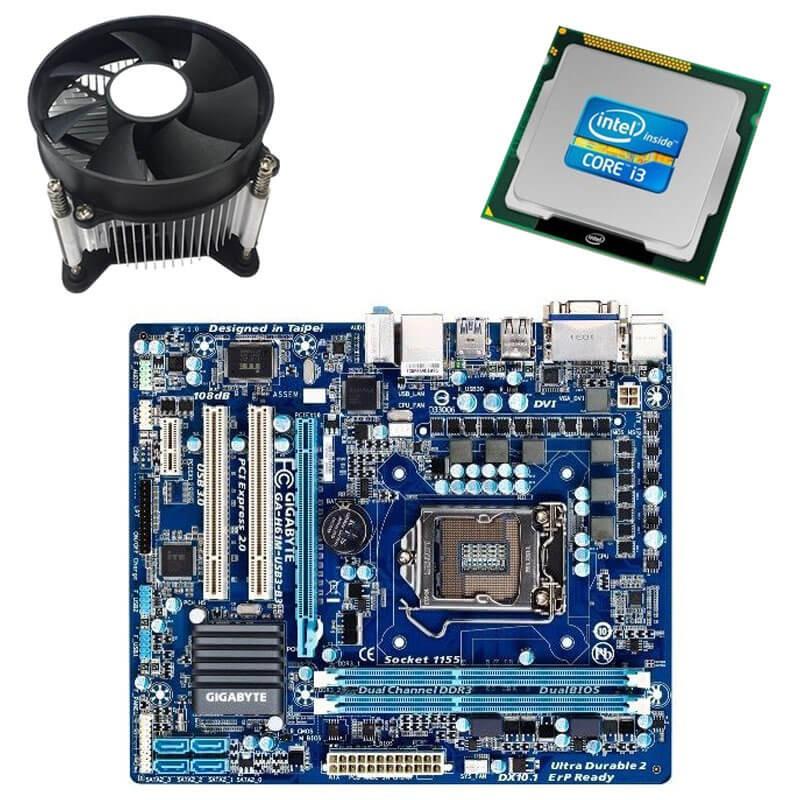 Kit Placi de baza Refurbished GIGABYTE GA-H61M-USB3-B3, Intel i3-2100, Cooler