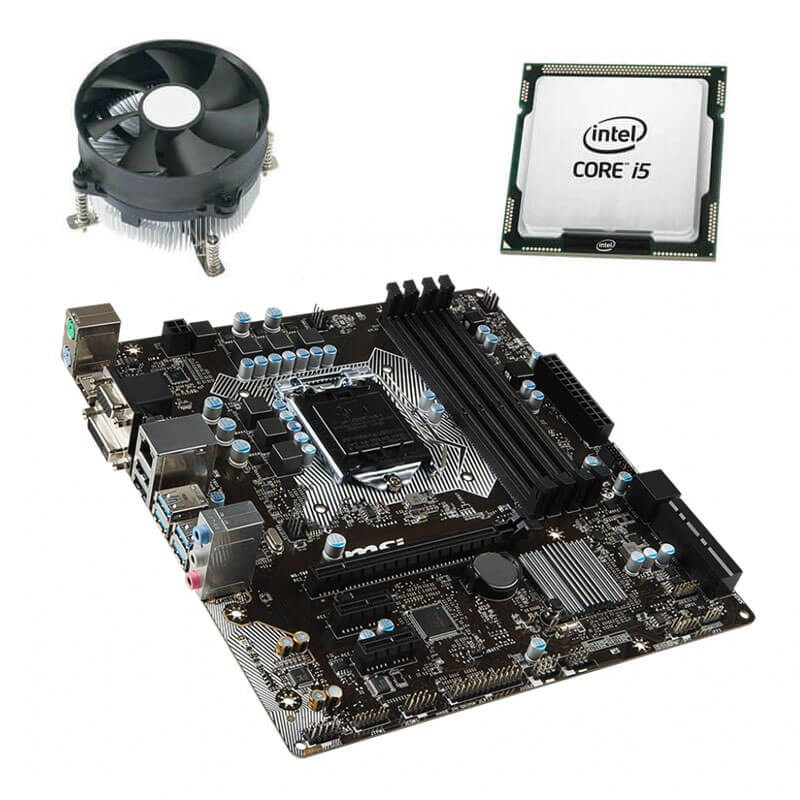 Kit Placi de baza Refurbished MSI B150M PRO-VDH, Quad Core i5-6400, Cooler