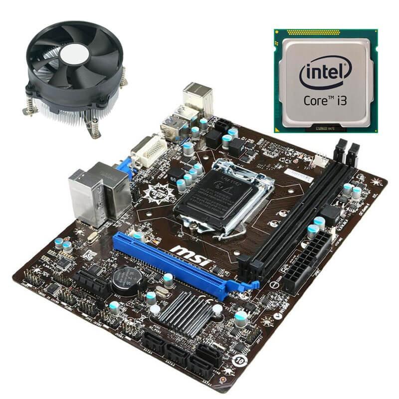Kit Placi de baza Refurbished MSI H81M-P33, Intel Core i3-4130, Cooler