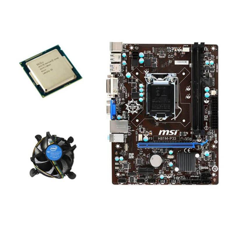 Kit Placi de baza Refurbished MSI H81M-P33, Intel Dual Core G3440, Cooler