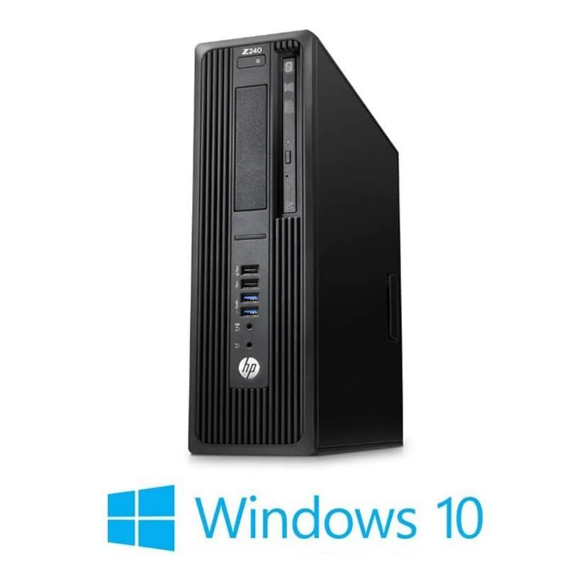 Statie grafica HP Z240 SFF, Quad Core i5-6400T, 256GB SSD NOU NVMe, Win 10 Home